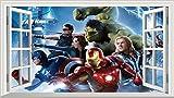 Avengers Superheld V002selbstklebend Magic Wandtattoo Fenster Poster Wall Art Größe 1000mm breit x 600mm tief (groß)