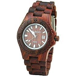 HopCentury Natural Wood Watch Unisex Quartz Movement Wooden Watch for Women and Men - Brown