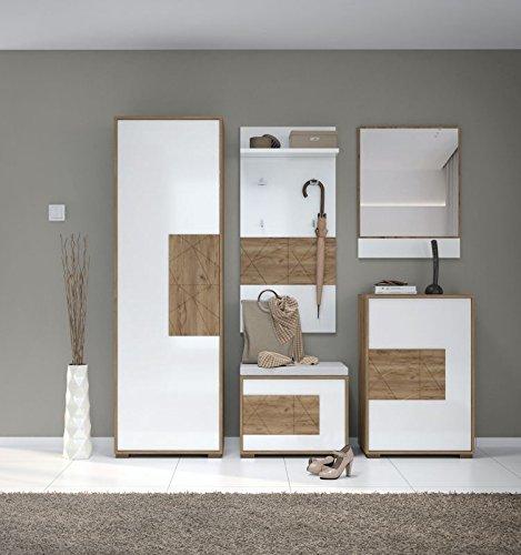 Garderobe Komplett - Set C Manase, 5-teilig, Farbe: Eiche Braun/Weiß Hochglanz