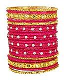 Naaz Bangle Pink Glass Bangle Set for Wo...