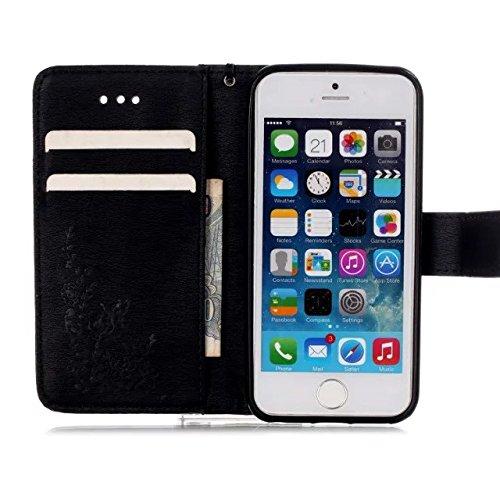 iPhone Case Cover IPhone5,5S cas, peint style coloré portefeuille style carte de crédit titulaire cas magnétique conception flip folio PU Housse en cuir couvercle standup cas pour iPhone 5 5S SE ( PAT B