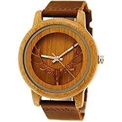 'Henny Small Designer Deer Unisex Women's Men's Stag Organic Natural Wood Leather Watch in Brown Stag Clock with Watch Box Limited Edition