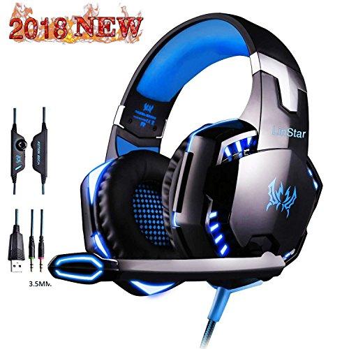 Preisvergleich Produktbild LinStar Gaming Headset,  G2000 Stereo Gamer Kopfhörer mit Mikrofon Headset mit Mikrofon LED-Leuchten und Lautstärkeregler für Laptop,  PC,  Mac,  iPad,  Smartphones