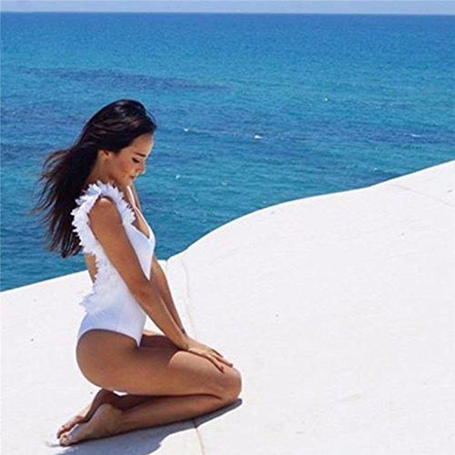 Bikini, J - NEGOZIO Costume da Bagno Bikini Intero, Tuta Da Bagno Per Donna Senza Maniche Con Costumi Interi In Cotone Tridimensionale Bianco