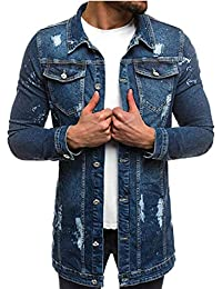 cfzsyyw Men's Denim Jacket Slim Fit Button Down Trucker Coat