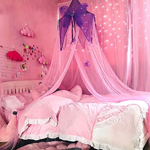 Moskitonetz Mädchen Prinzessin Mesh Schmetterling Runde Kuppel Zimmer Leichte Krippe Netting Reading Canopy Moskitonetz Spielen Kinderbett, Rosa Lila -