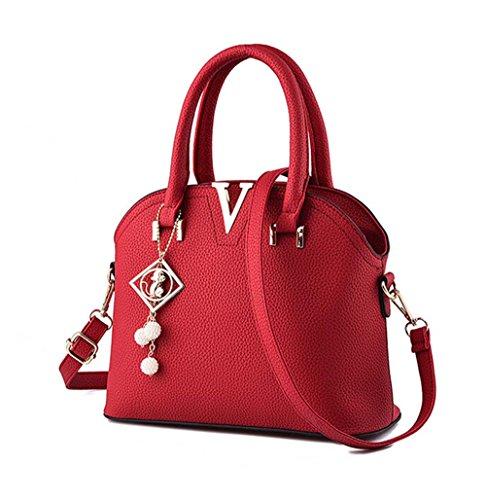 FOLLOWUS Mode Damen PU Leder Handtaschen Freizeit Elegant Temperament Schulter Umhängetaschen Mit Anhänger Schmuck Wein Rot