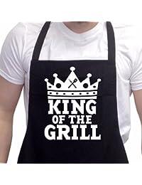 Nouveau Tablier de Cuisine/Barbecue drôle cadeau pour Hommes Le Rois Du Grill Noir Taille unique
