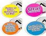 4er Set Flaschenöffner Kapselheber Bieröffner Button Rund mit Spruch, magnetisch, ø 5,6 cm