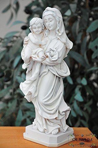 26 - 27 cm,MARMOR weiss (mattlackiert), Heilige Maria Mutter Gottes mit Kind, Madonna Mutter Gottes mit lustigem, aufgeweckten Jesus-Kind, uraltes Symbol des christlichen Glaubens - alle ÖLBAUM HEILIGEN- und Krippenfiguren zeichnen sich durch extrem sauber gearbeitete und präzise Gesichtszüge der Figuren aus, coloriertes Holzfiguren- bzw. Echtholzimitat, schlanke Form, standfest, liebevoll handbemalt