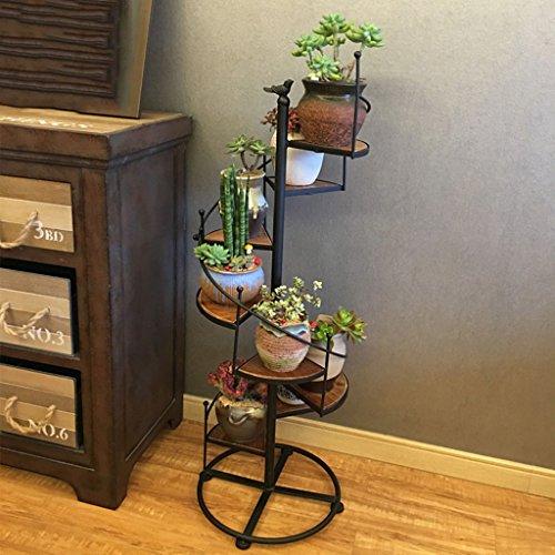 $Etagère d'exposition Support de fleur de fer, support de plante de forme d'escalier, cadre de finition de multi-couche de salon ( Couleur : Noir , taille : 1M )