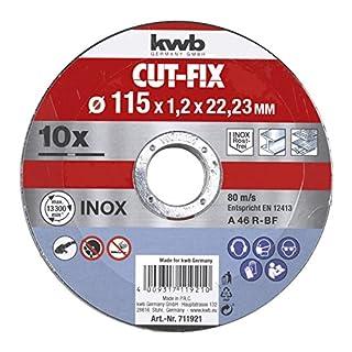kwb CUT-FIX Trennscheiben Sparpack –115 x 1,2 Flexscheiben-Set für Winkelschleifer, 10-teilig
