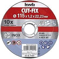 KWB 49711921 Juego de 10 discos cut fix, metal, 115 x 1,2 mm, 115 x 1 mm