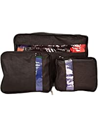 BLACK : SET OF 3 SUITCASE ORGANISER BAG PACKERS TIDY CASE LUGGAGE PACKING TRAVEL CUBES (BLACK)