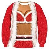 Goodstoworld Funny Christmas Sweater 3D Druck Rot Damen Ugly Weihnachtspullover Pullover Weihnachten Sweatshirt Unisex L