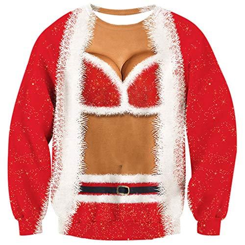 Goodstoworld 3D Christmas Pullover Jugendliche Mädchen Rot Lustige Weihnachtspullover Hässliche Kleider T-Shirt Hemd M