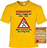 Zum 40. Geburtstag lustiges Walking Läufer Sprüche Tshirt - Vorsicht! Dieser Jogger ist über 40! Bitte Machen Sie Den Weg Frei! Läufer Sportler Fun Geschenke Set T-Shirt mit Urkunde Gr L in Gelb :)