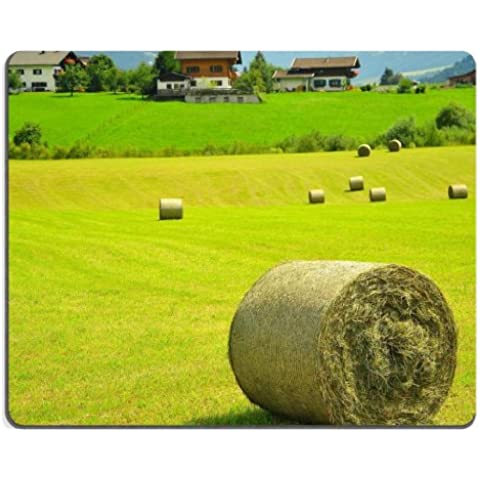 Field Harvest Hay Rolls Scenery Mouse Pads Customized Made to Order Support Ready 9 7/8 Inch (250mm) X 7 7/8 Inch (200mm) X 1/16 Inch (2mm) High Quality Eco Friendly Cloth with Neoprene Rubber MSD Mouse Pad Desktop Mousepad Laptop Mousepads Comfortable Computer Mouse Mat Cute Gaming Mouse pad