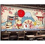 Papel Tapiz Para El Hogar Calcomanías De Estilo Japonés Fujiyama Cartoon Mural Para La Sala De Bricolaje Tela De Seda-(W)200x(H)140cm