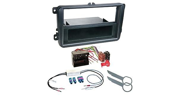 Autoradio Einbauset 1-DIN VW Eos ab 06 Kabel Einbaurahmen schwarz