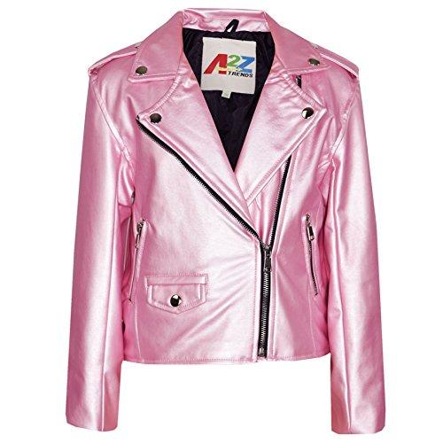 A2Z 4 Kinder Mädchen JACKEN - PU Leather JACKE 460 Baby Pink 9-10