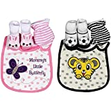 N&M Cute & Adorable Baby Bibs, Booties & Mittens Combo Set - (Pack Of 2 Combo Set) Color/Print May Vary