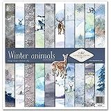 ITD Collection – Emballage de scrapbooking, papier décoratif, format papier 310 x 320 mm (animaux hiver)