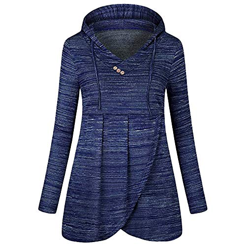 (BHYDRY Frauen Casual Knopf T-Shirt Langarm-lose Top(EU-42/CN-XL,Blau))