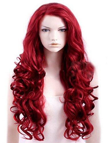 Praktische Mode Perücken europäisches Haar Capless extra langen roten hochwertigen Natur geschweiften synthetische ()