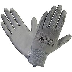 10 pares - Guante algodón puntos con un suave recubrimiento de PU - Gris,Talla: 7