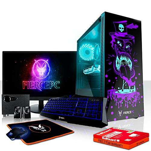 Fierce Berserker RGB Gaming PC Bundeln - 4.2GHz Hex-Core AMD Ryzen 5 2600X, 1TB SSHD, 8GB, NVIDIA GeForce GTX 1050 2GB, Tastatur (QWERTY), Maus, 24-Zoll-Monitor, Lautsprecher 990417