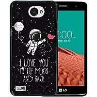 WoowCase Funda LG X150 Bello 2, [LG X150 Bello 2 ] Funda Silicona Gel Flexible Astronauta Corazón - I Love To the Moon And Back, Carcasa Case TPU Silicona - Negro