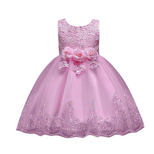 UOMOGO Abito Bambina Principessa Vestito da Cerimonia per la Damigella Bowknot Floreale Abiti per la Matrimonio Carnevale Natale Regalo (età: 8 Anni, Rosa)