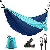 CUNXIA CampingHammock, SingleOutdoorTravelHammock, PortableNylon ParachuteHammockwith Tree Straps forCampingHiking Backpacking (Blue)