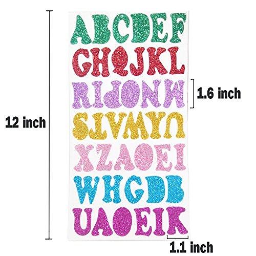 Zap Impex Glitter Foam Aufkleber Buchstaben Selbstklebend, 10 Blatt Schaum Buchstaben Aufkleber Alphabet für Kinder Kunst Bastelbedarf Grußkarten Schrott Bücher Dekoration, 6 Farben zufällig