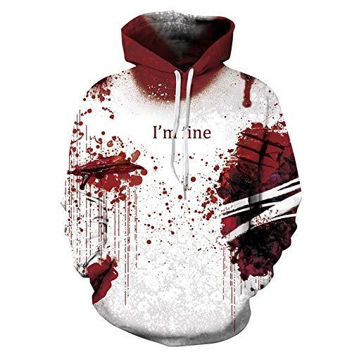 YBDKSNL Horror Blood Halloween Übergroße Hoodie Herren Large Size Cosplay Sweatshirt Wunddruck Benutzerdefinierte 3D Street Dress Up,XXXL (Sweatshirts Benutzerdefinierte Hoodie)