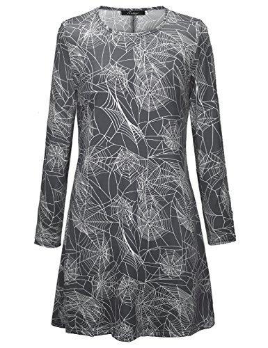 SIMYJOY Damen Halloween Langarm Kittel Flared Skater Kleid Swing Kleid für Party Cocktail Kostüm...