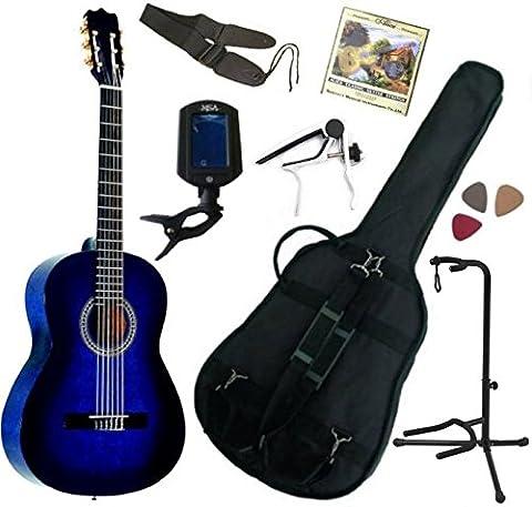 Pack Guitare Classique 3/4 (8-13ans) Pour Gaucher Avec 7 Accessoires (bleu)