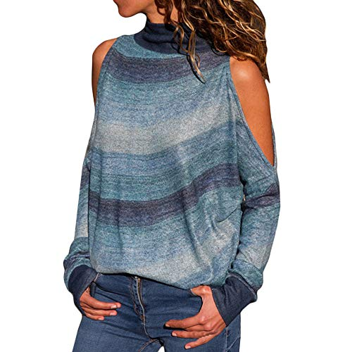 TWIFER Damen Mode Kalte Schulter Bluse Geometrischer Blumendruck Off Shoulder Jumper