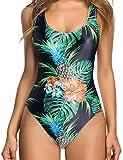 uideazone Frauen Schwimmen Anzüge 3D Print Blätter rückenfreie High Cut Pool Party Sexy Bademoden