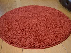 Terracotta Rust Circular Non Slip Machine Washable Thick Soft Shaggy Rug. Available in 2 Sizes. by Rugs Supermarket