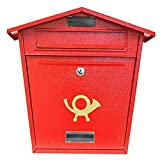POSTBOX COLLECTION BY PRICE CRUNCHERS - Lockable Heavy Duty Secure Wall Mounted Letter Mail Post Box Stainless Steel (11. Steel Plate Red)