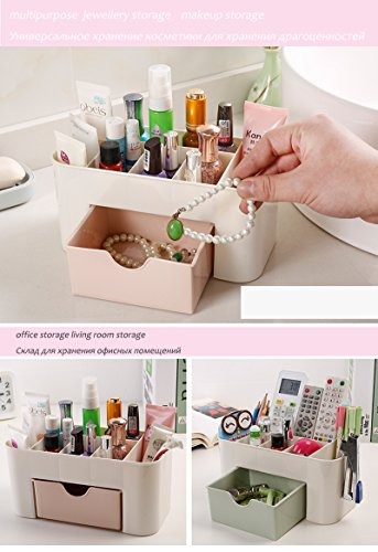 PETRICE Cosmetic Storage Box Multi Functional Desktop Storage Boxes Drawer Makeup Organizers Storage Boxes (Colour May Vary)