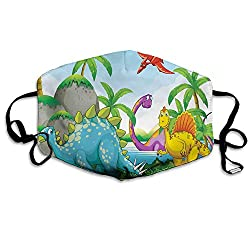 3D Print Anti-Dust Earloop Face Mask for Women Men, Dinosaurs Living in The Jungle Illustration Palm Trees Lakeside Stones Fun Artwork