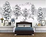 HONGYAUNZHANG Schwarz Und Weiß Wald Elch Benutzerdefinierte Fototapete 3D Stereoskopischen Wand Wohnzimmer Schlafzimmer Sofa Hintergrund Wandmalereien,230Cm (H) X 310Cm (W)