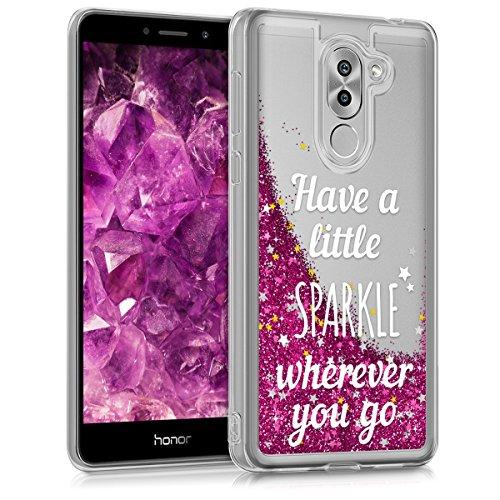kwmobile Hülle für Huawei Honor 6X / GR5 (2017) / Mate 9 Lite - TPU Silikon Backcover Case Handy Schutzhülle - Cover klar Schneekugel Sparkle Design Silber Pink Transparent
