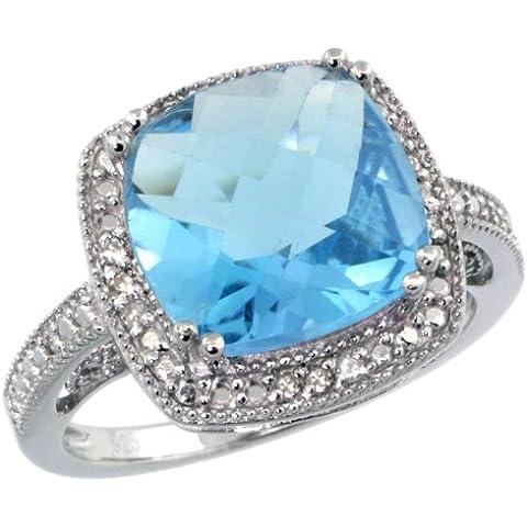 Revoni-Catenina con pendente in argento Sterling 925, stile Vintage, con topazio blu 2,0 ct-Anello con diamanti taglio brillante & 6,00 k, 10 mm, taglio cuscino con gemma, misure disponibili da J a