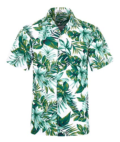 Herren Hawaii Hemd Kurzarm Flamingos Aloha Party Shirt Palm Beach Shirts Leaf Print EHS007-M