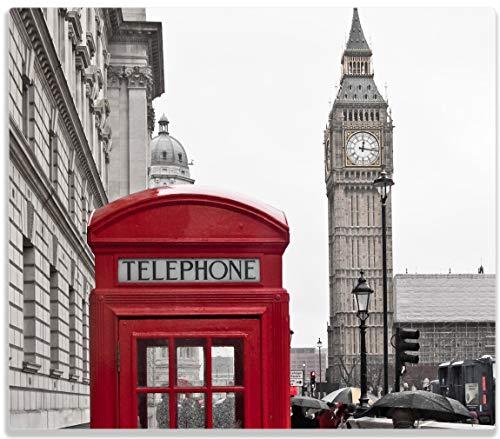 Wallario Herdabdeckplatte/Spritzschutz aus Glas, 1-teilig, 60x52cm, für Ceran- und Induktionsherde, Rote Telefonzelle in London England mit Big Ben - Telefonzelle Telefon