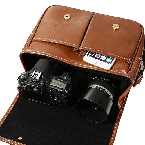 f8ad05fab3 Koolertron Waterproof Synthetic Leather Camera Bag,DSLR Camera Bag Case  Vintage DSLR Bag Shoulder Messenger